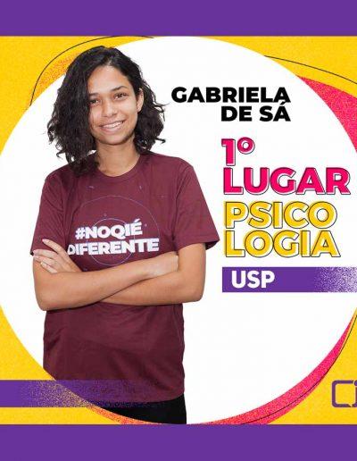 2020 Gabriela de Sá Rodrigues -1º LUGAR EM PSICOLOGIA na USP